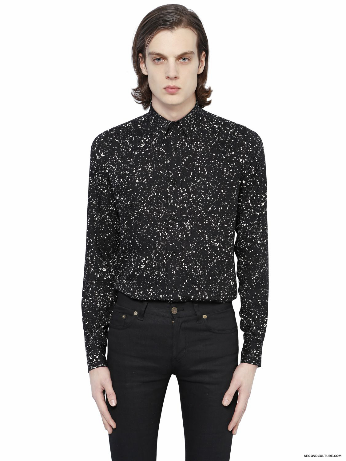 Saint-Laurent-Black-Micro-Confetti-Print-Light-Viscose-Twill-Shirt-Fall-Winter-2015-1