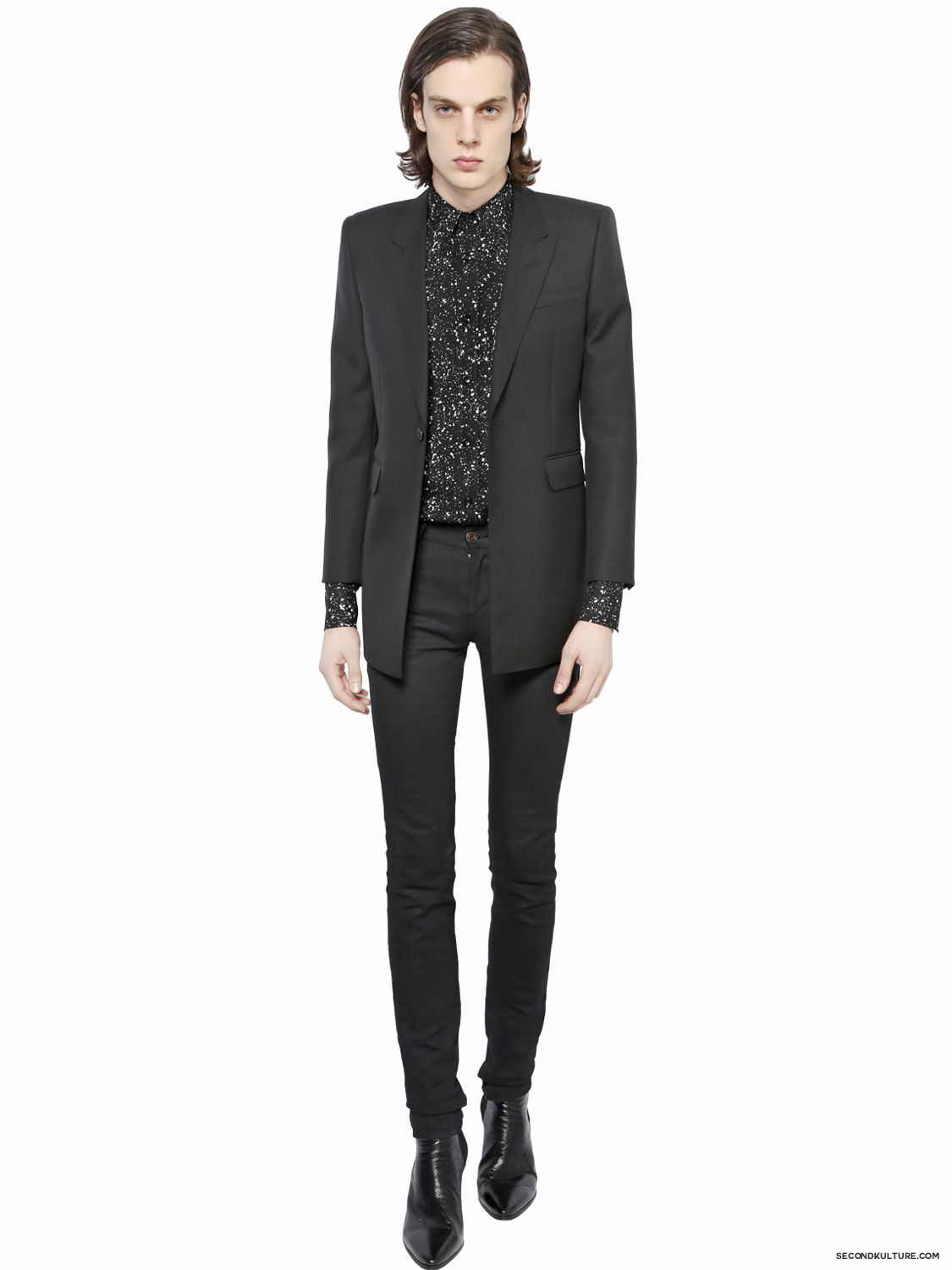 Saint-Laurent-Black-Micro-Confetti-Print-Light-Viscose-Twill-Shirt-Fall-Winter-2015-2
