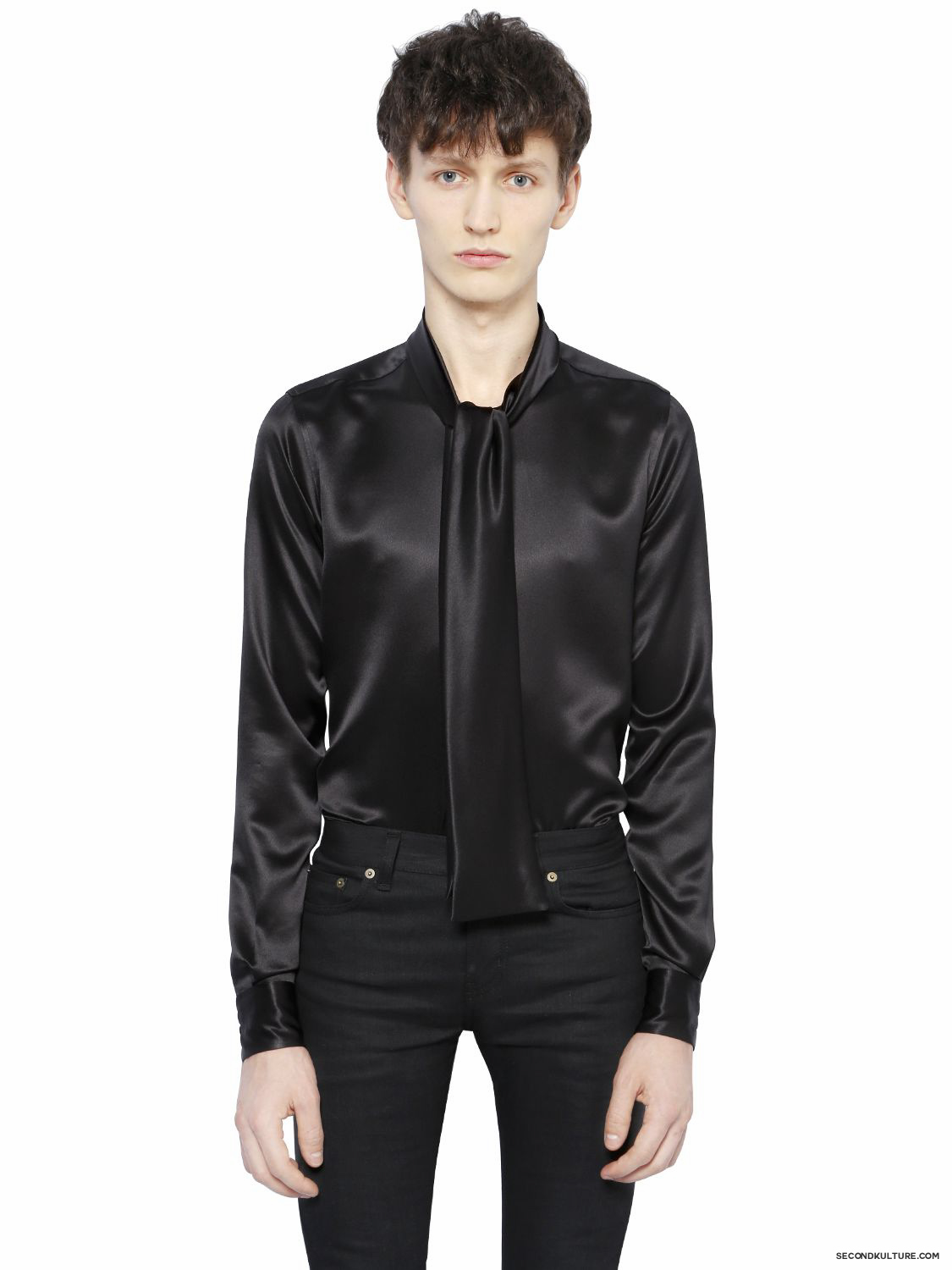 Saint-Laurent-Black-Scarf-Collar-Silk-Satin-Shirt-Fall-Winter-2015-1