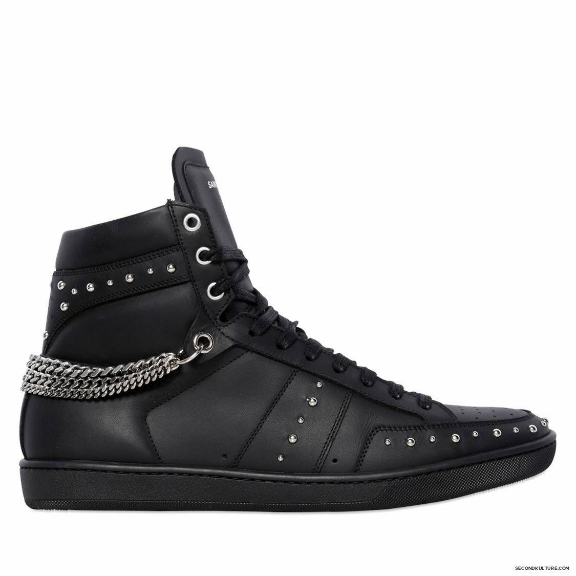 Saint-Laurent-Black-Studded-Chained-Leather-High-Top-Sneakers-Fall-Winter-2015-1