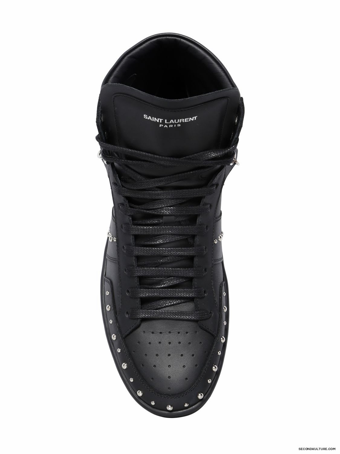 Saint-Laurent-Black-Studded-Chained-Leather-High-Top-Sneakers-Fall-Winter-2015-2