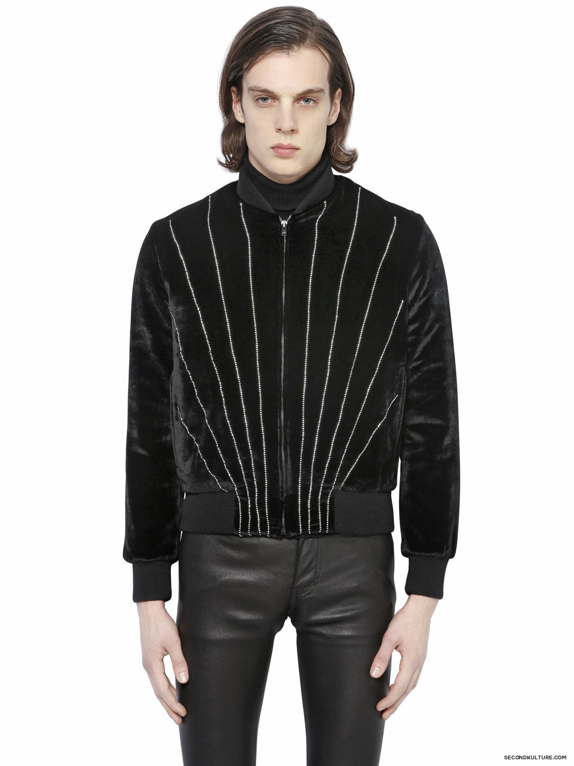 Saint-Laurent-Black-Swarovski-Viscose-Velvet-Bomber-Jacket-Fall-Winter-2015-1