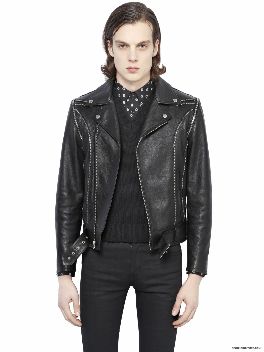 Saint-Laurent-Black-Zipper-Biker-Leather-Jacket-Fall-Winter-2015-1
