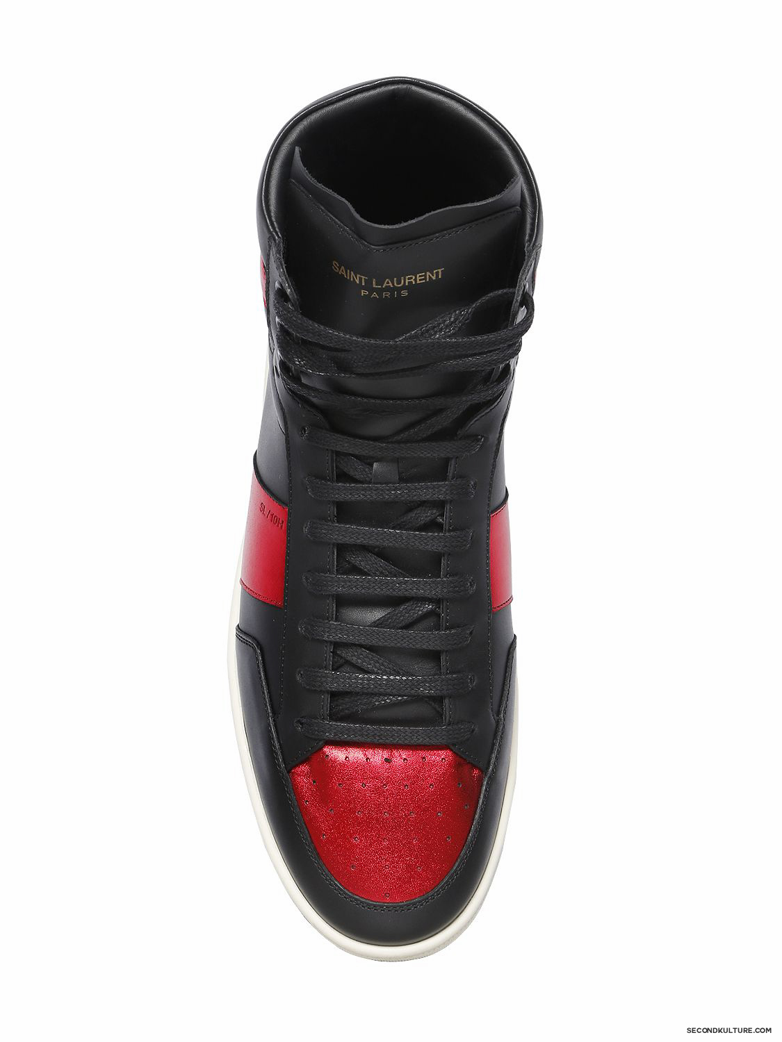 Saint-Laurent-Black-and-Red-Lame-Leather-SL10H-High-Top-Sneakers-Fall-Winter-2015-2