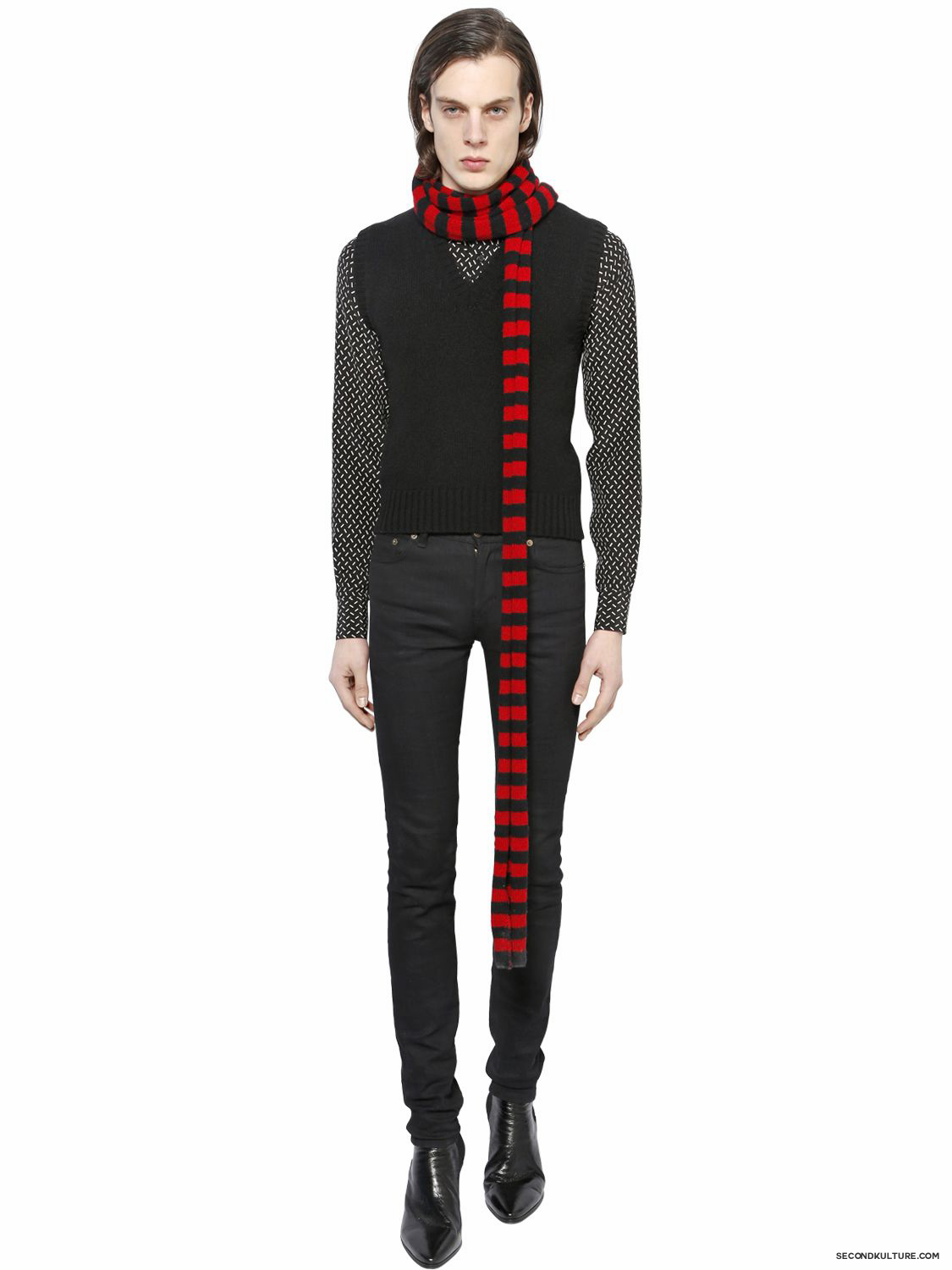 Saint-Laurent-Black-and-Red-Striped-Shetland-Wool-Scarf-Fall-Winter-2015-1