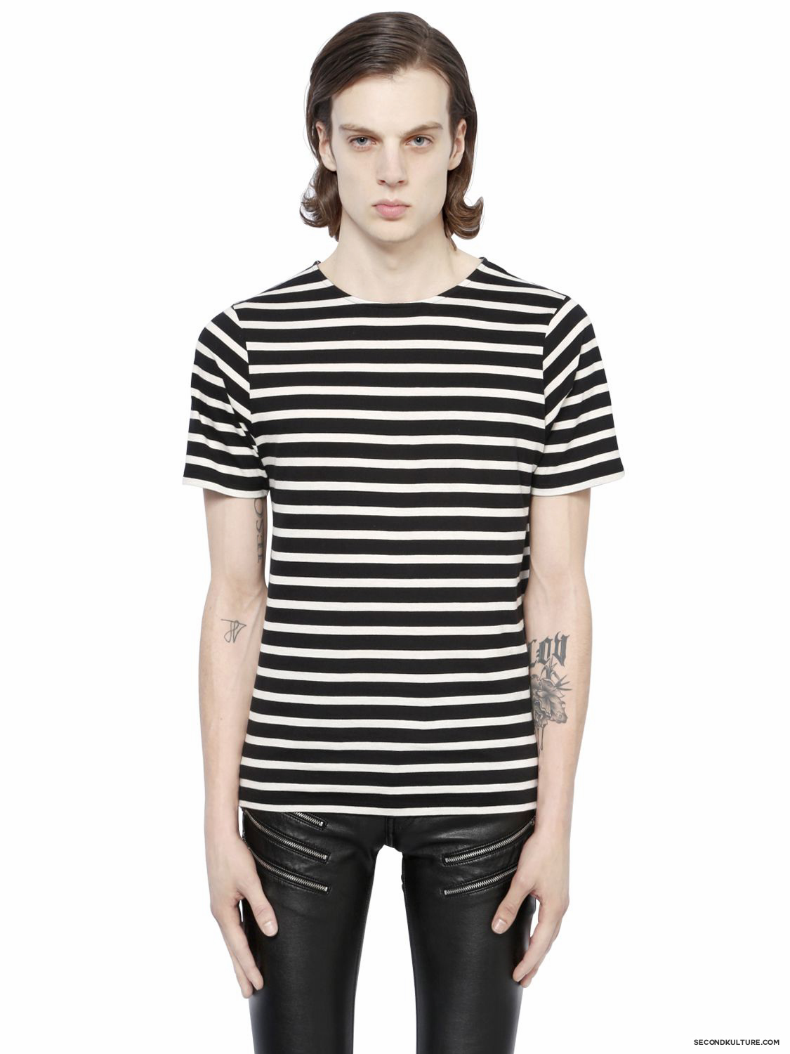 Saint-Laurent-Black-and-White-Striped-Print-T-Shirt-Fall-Winter-2015-1