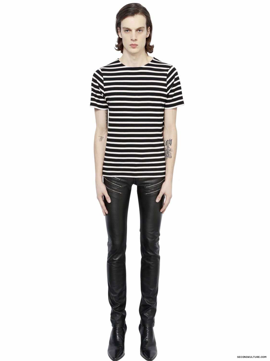 Saint-Laurent-Black-and-White-Striped-Print-T-Shirt-Fall-Winter-2015-2