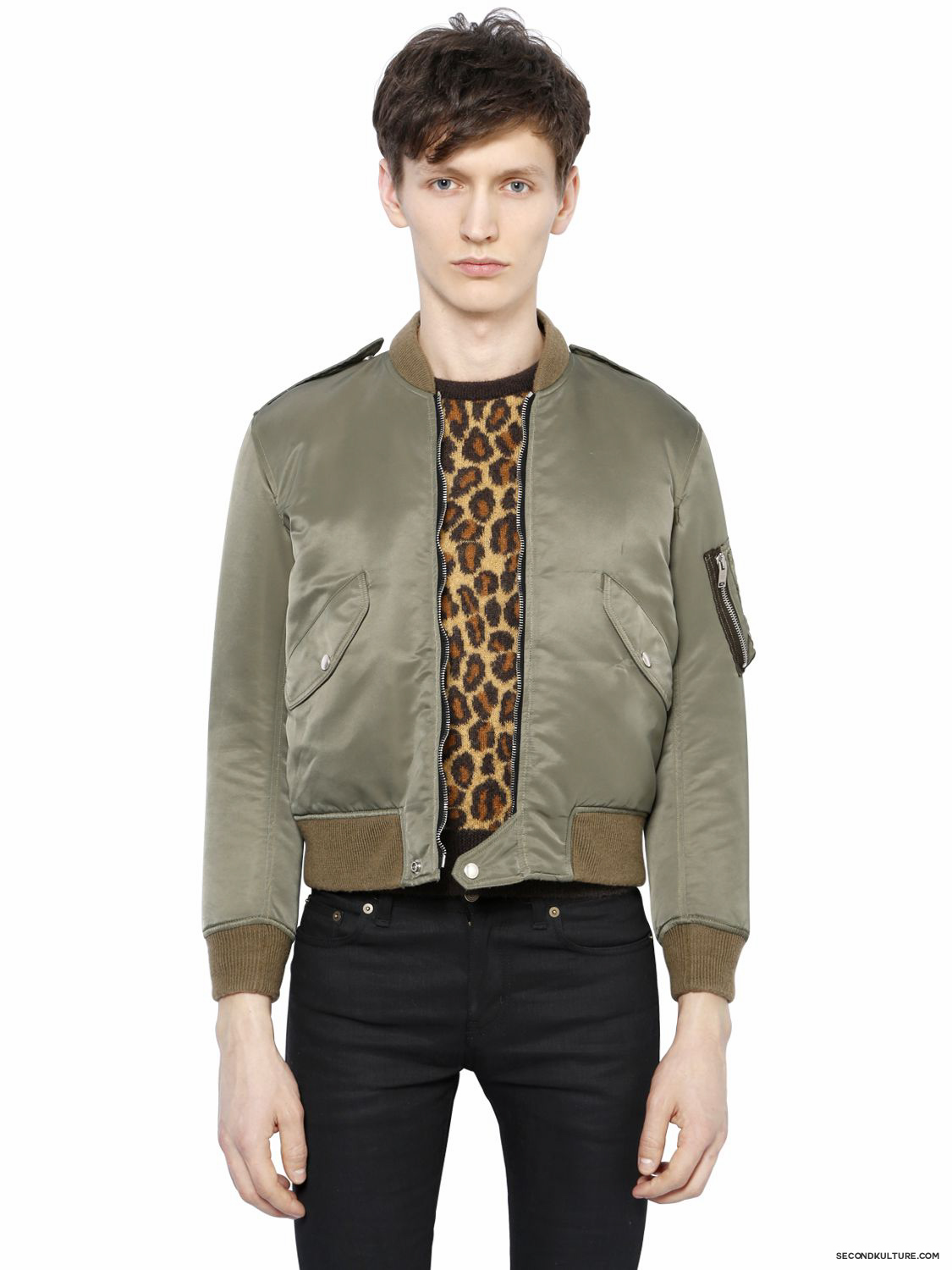 Saint-Laurent-Khaki-Padded-Nylon-Jacket-Fall-Winter-2015-1