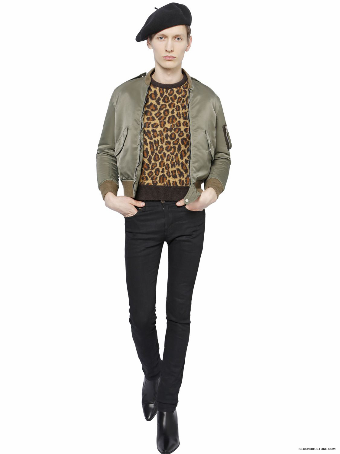 Saint-Laurent-Khaki-Padded-Nylon-Jacket-Fall-Winter-2015-2