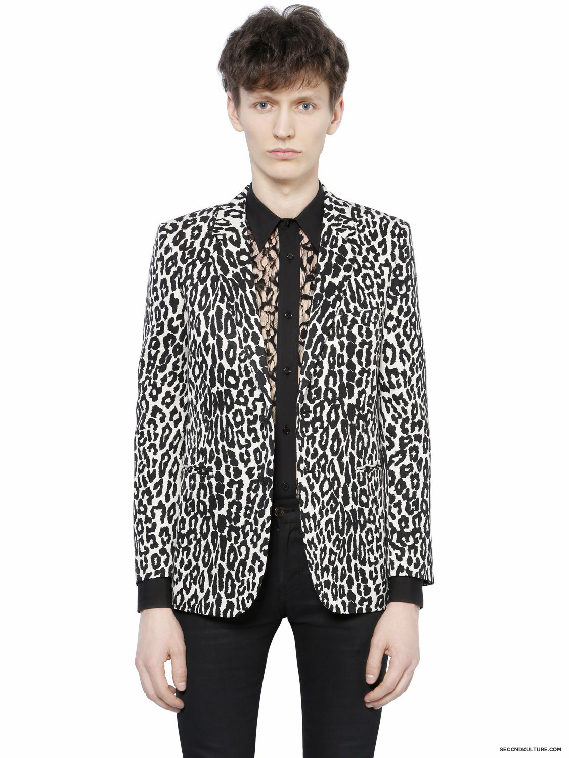 Saint-Laurent-White-Babycat-Print-Wool-Viscose-Faille-Jakcet-Fall-Winter-2015-1