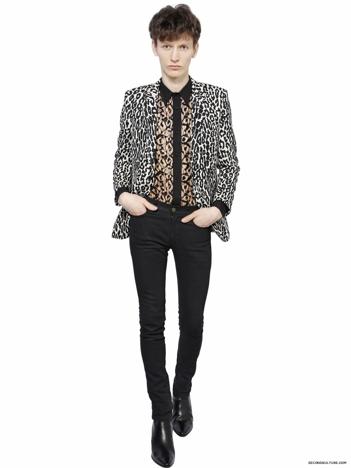 Saint-Laurent-White-Babycat-Print-Wool-Viscose-Faille-Jakcet-Fall-Winter-2015-2