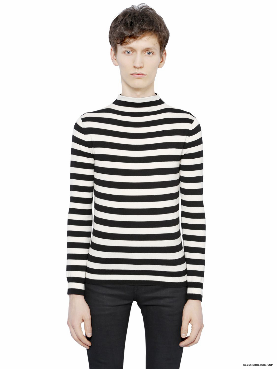Saint-Laurent-White-and-Black-Striped-Wool-Sweater-Fall-Winter-2015-1
