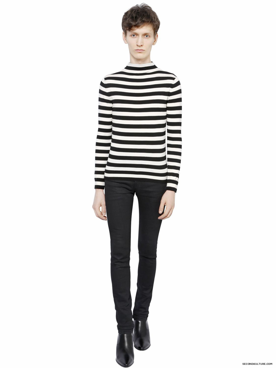 Saint-Laurent-White-and-Black-Striped-Wool-Sweater-Fall-Winter-2015-2
