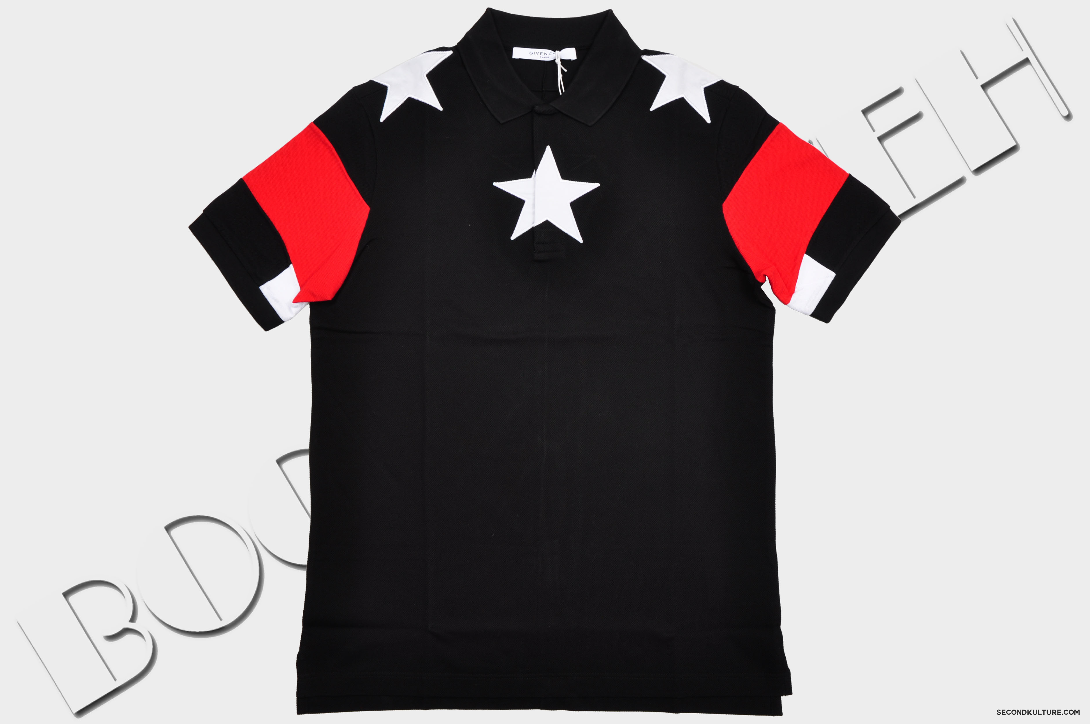 Givenchy-Black-Stars-Red-Banded-Sleeves-Polo-Shirt-Pre-Fall-2015-15F7600511