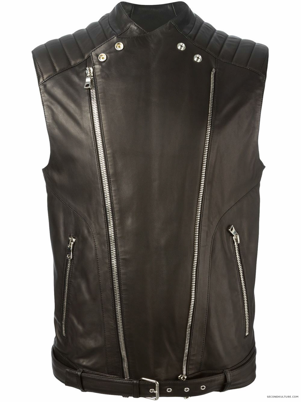 Balmain-Black-Biker-Leather-Zipped-Gilet-Vest-2015-2016-1
