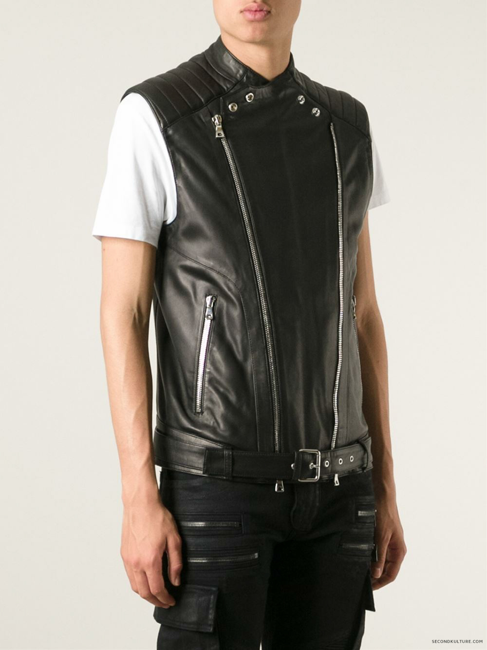 Balmain-Black-Biker-Leather-Zipped-Gilet-Vest-2015-2016-3