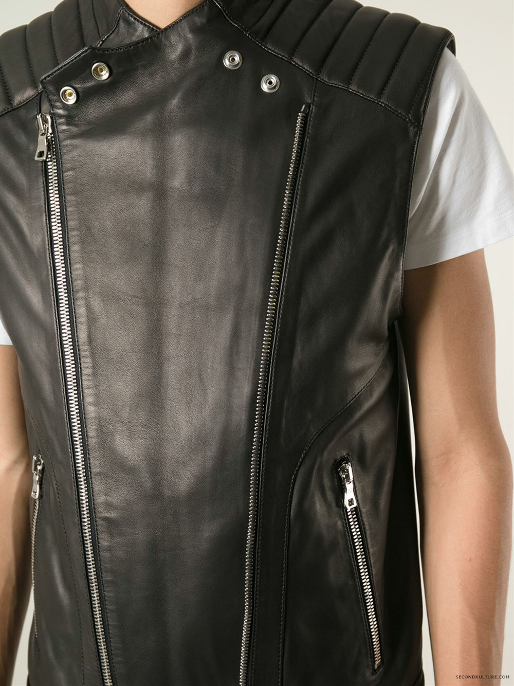 Balmain-Black-Biker-Leather-Zipped-Gilet-Vest-2015-2016-5