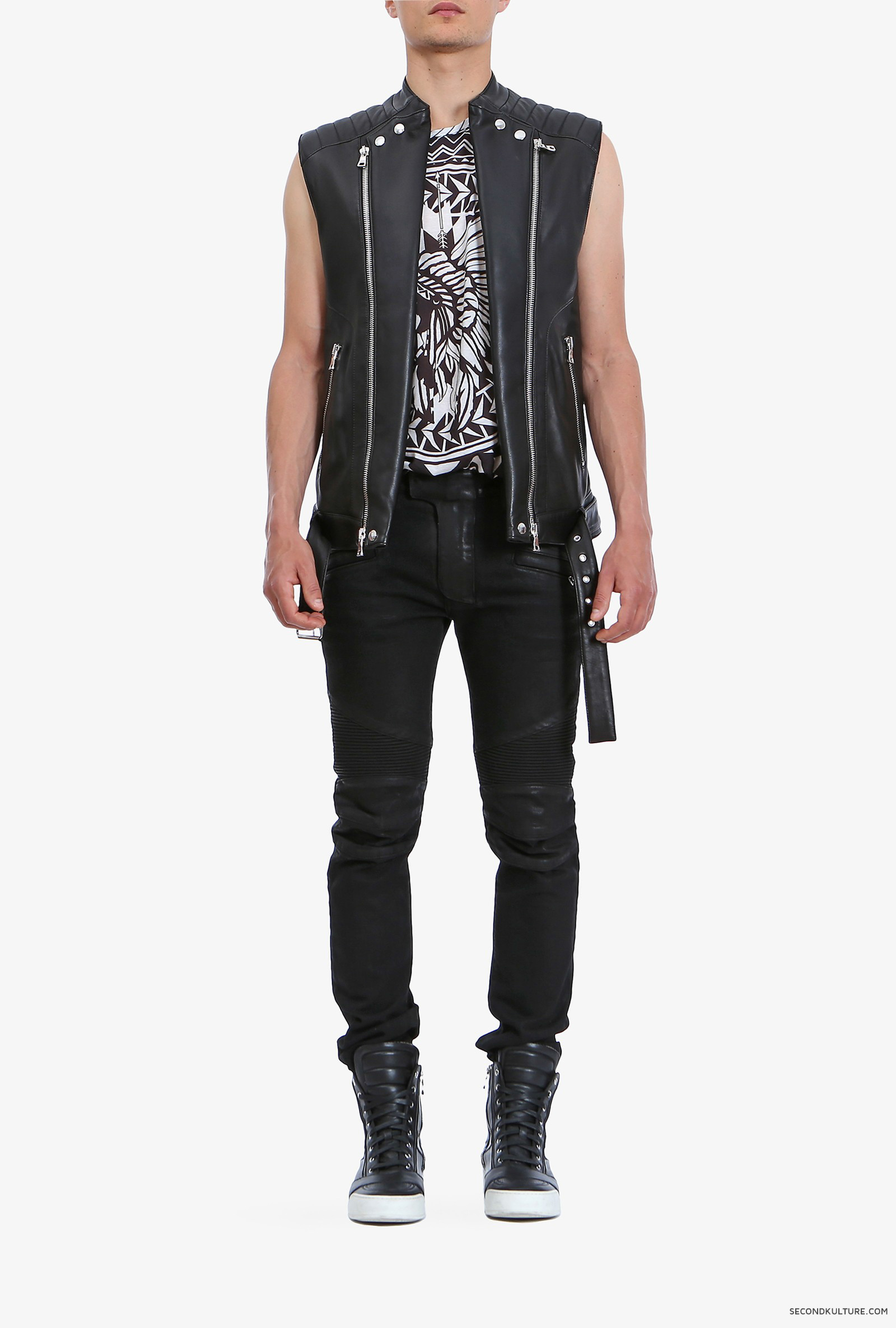 Balmain-Black-Biker-Leather-Zipped-Sleeveless-Jacket-S5HC851C601-176-1
