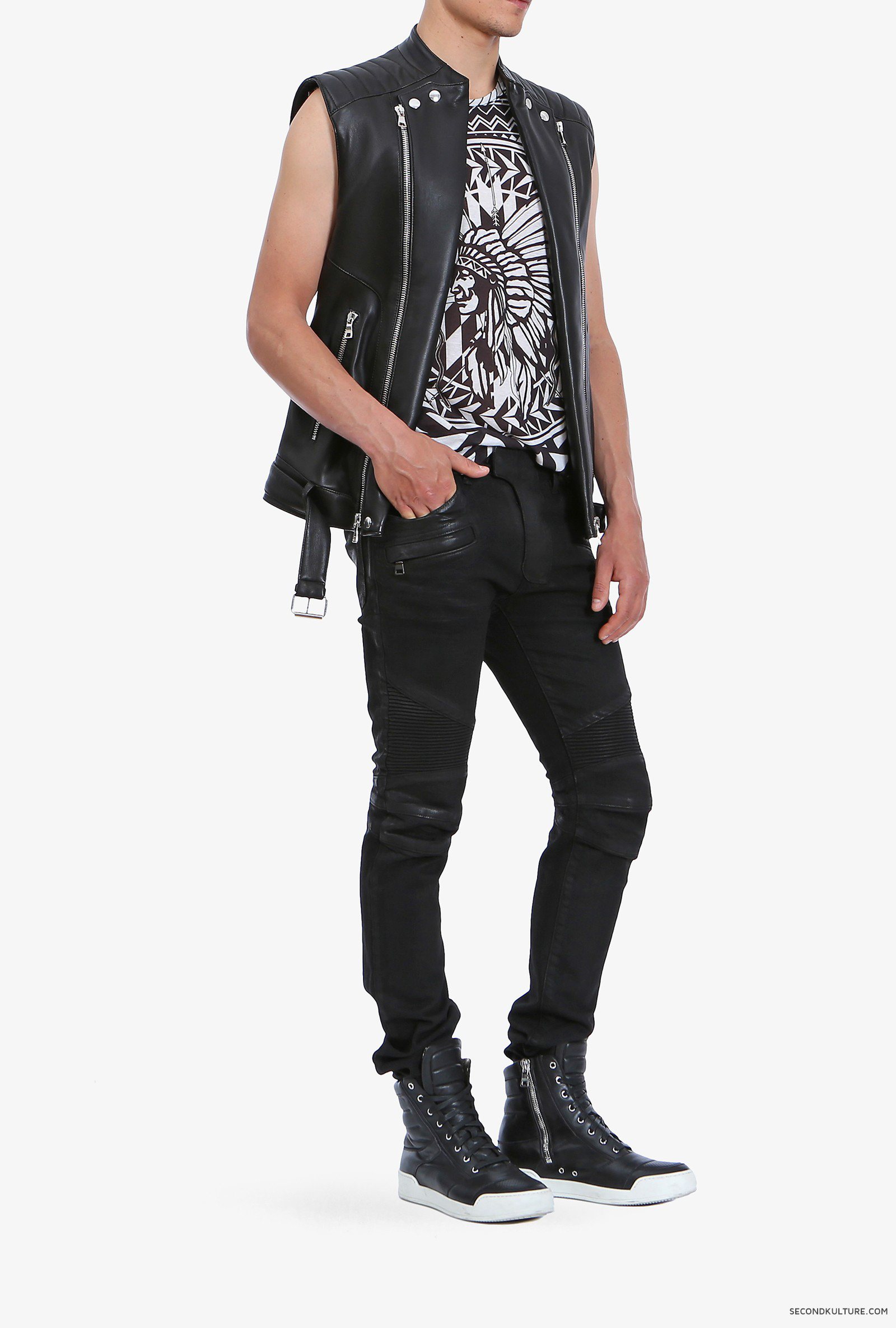 Balmain-Black-Biker-Leather-Zipped-Sleeveless-Jacket-S5HC851C601-176-2