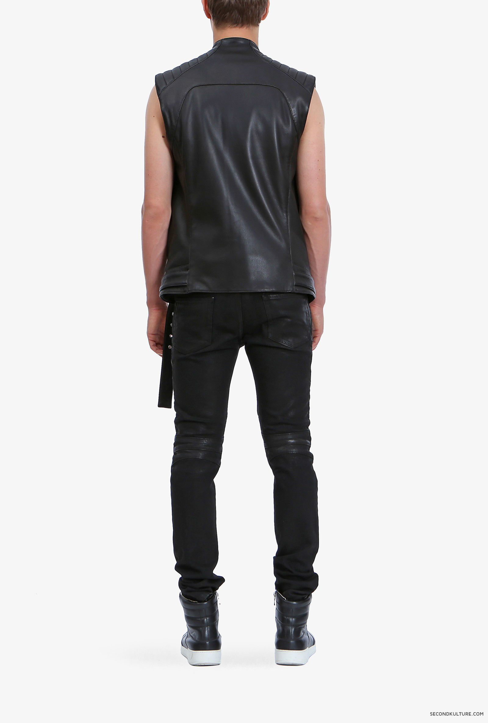 Balmain-Black-Biker-Leather-Zipped-Sleeveless-Jacket-S5HC851C601-176-3