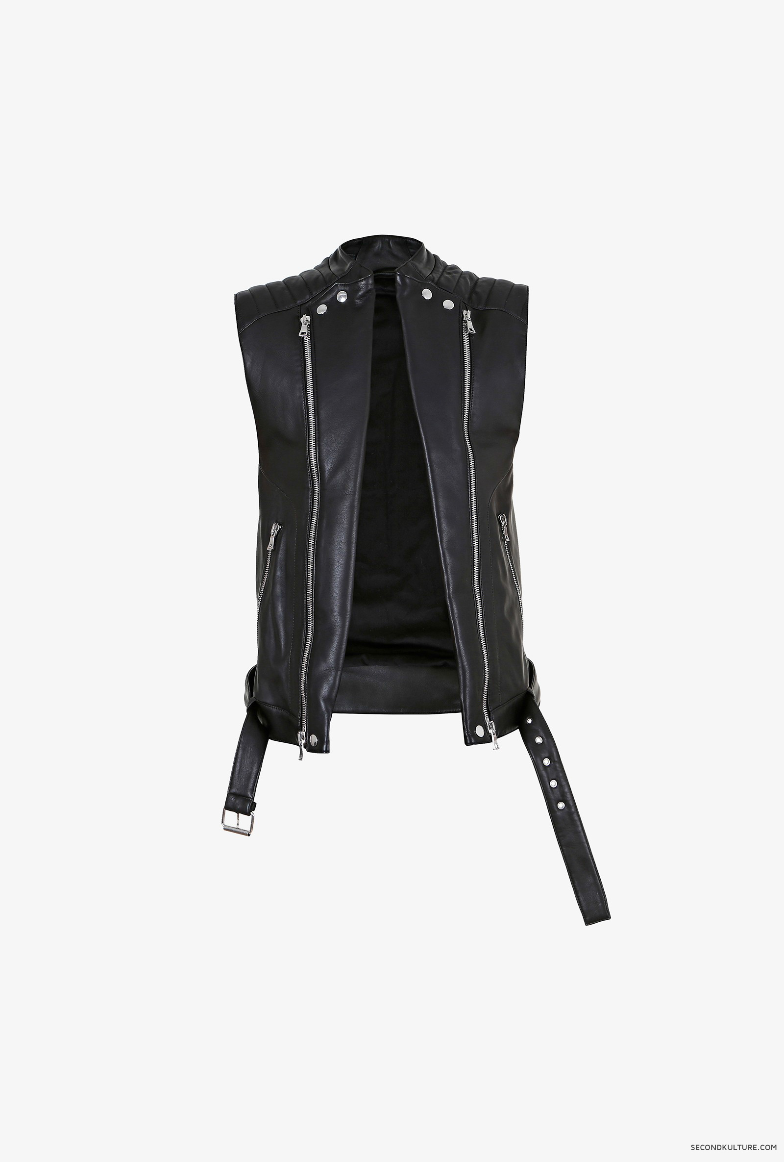 Balmain-Black-Biker-Leather-Zipped-Sleeveless-Jacket-S5HC851C601-176-5