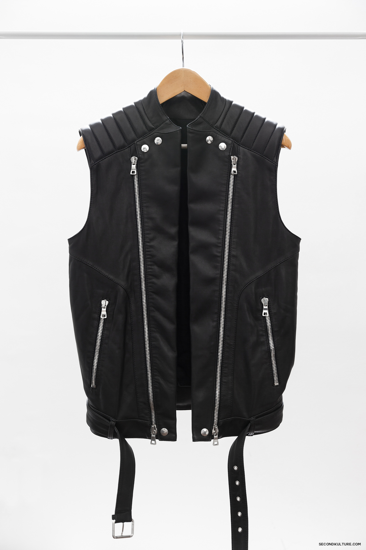 Balmain-Black-Zipped-Biker-Leather-Gilet-Vest-Sleeveless-Jacket-1