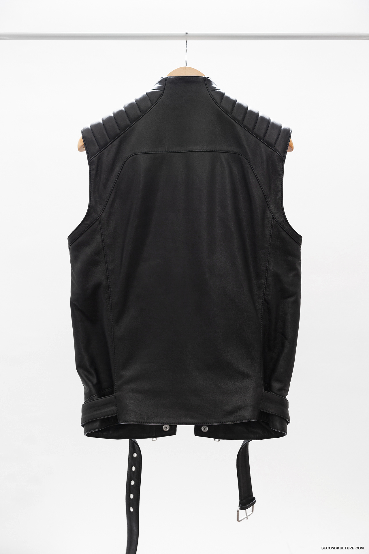 Balmain-Black-Zipped-Biker-Leather-Gilet-Vest-Sleeveless-Jacket-2