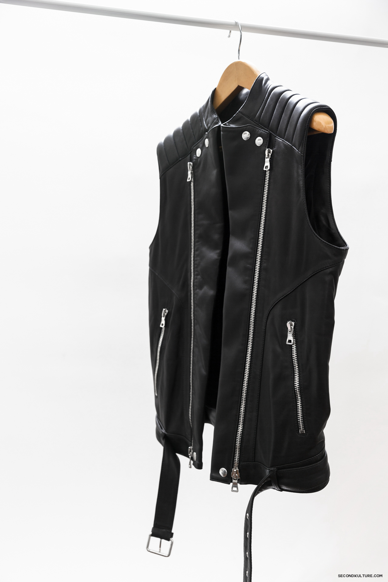 Balmain-Black-Zipped-Biker-Leather-Gilet-Vest-Sleeveless-Jacket-3