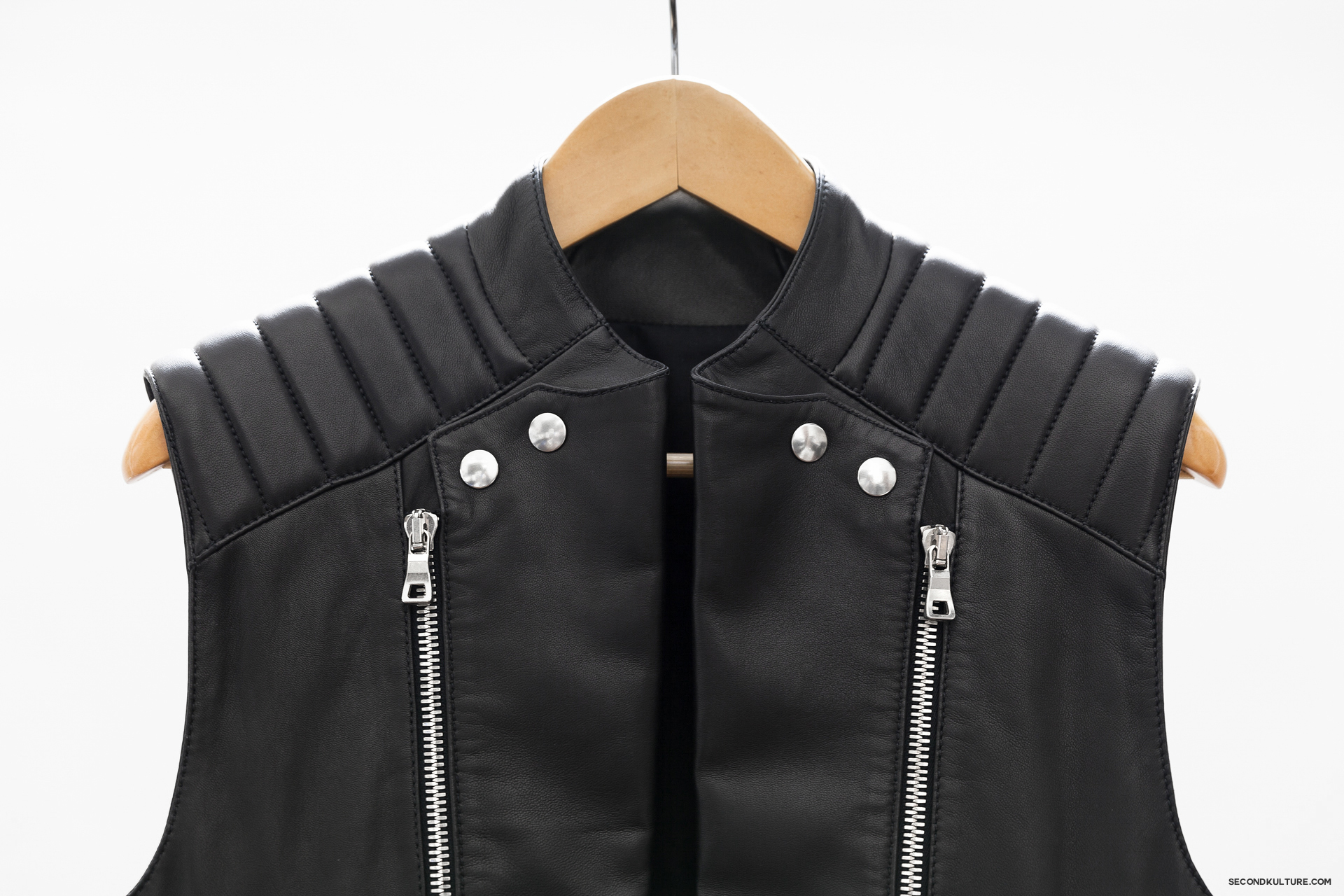 Balmain-Black-Zipped-Biker-Leather-Gilet-Vest-Sleeveless-Jacket-4