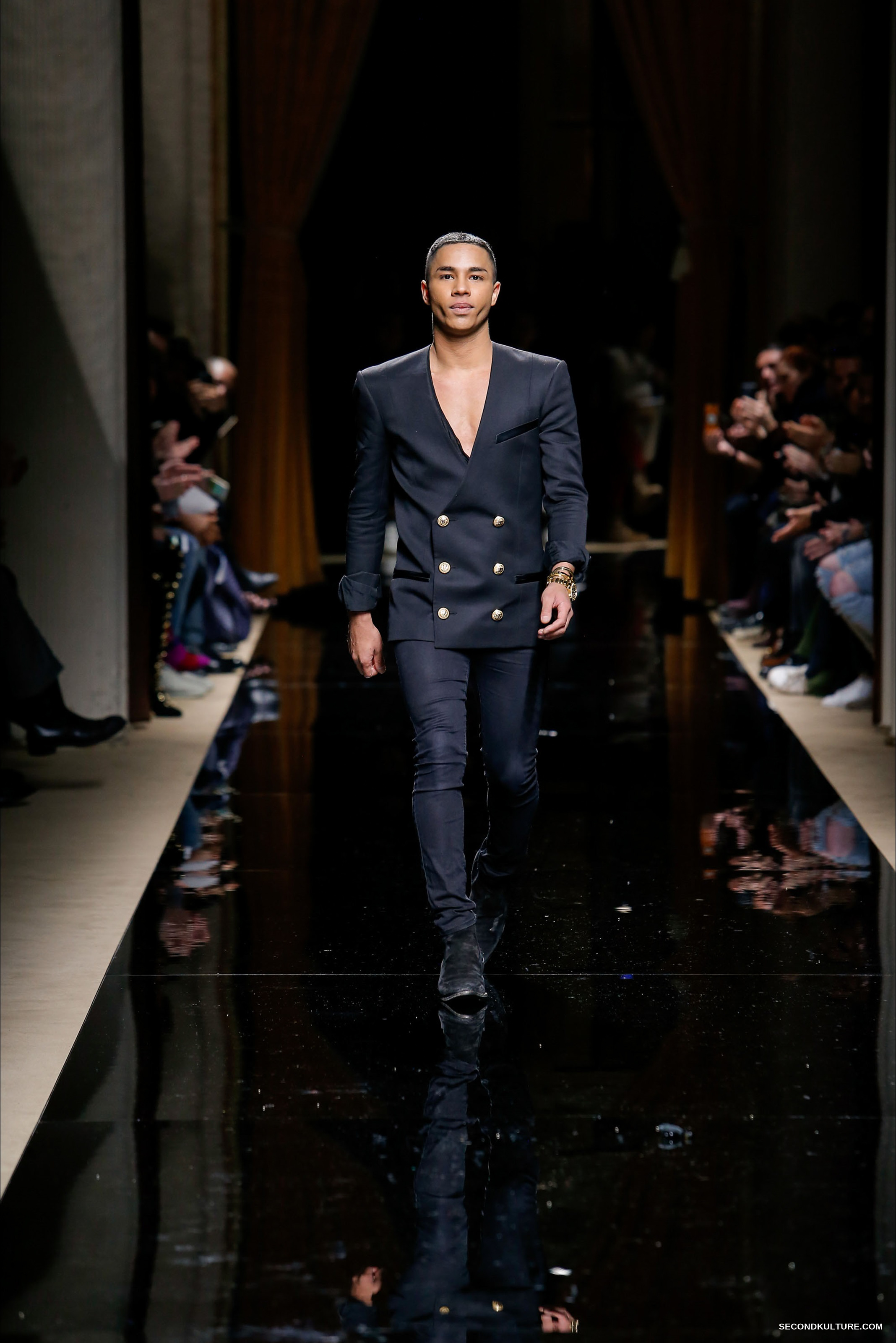 Olivier Rousteing at the Balmain Fall Winter 2016 Menswear fashion show finale