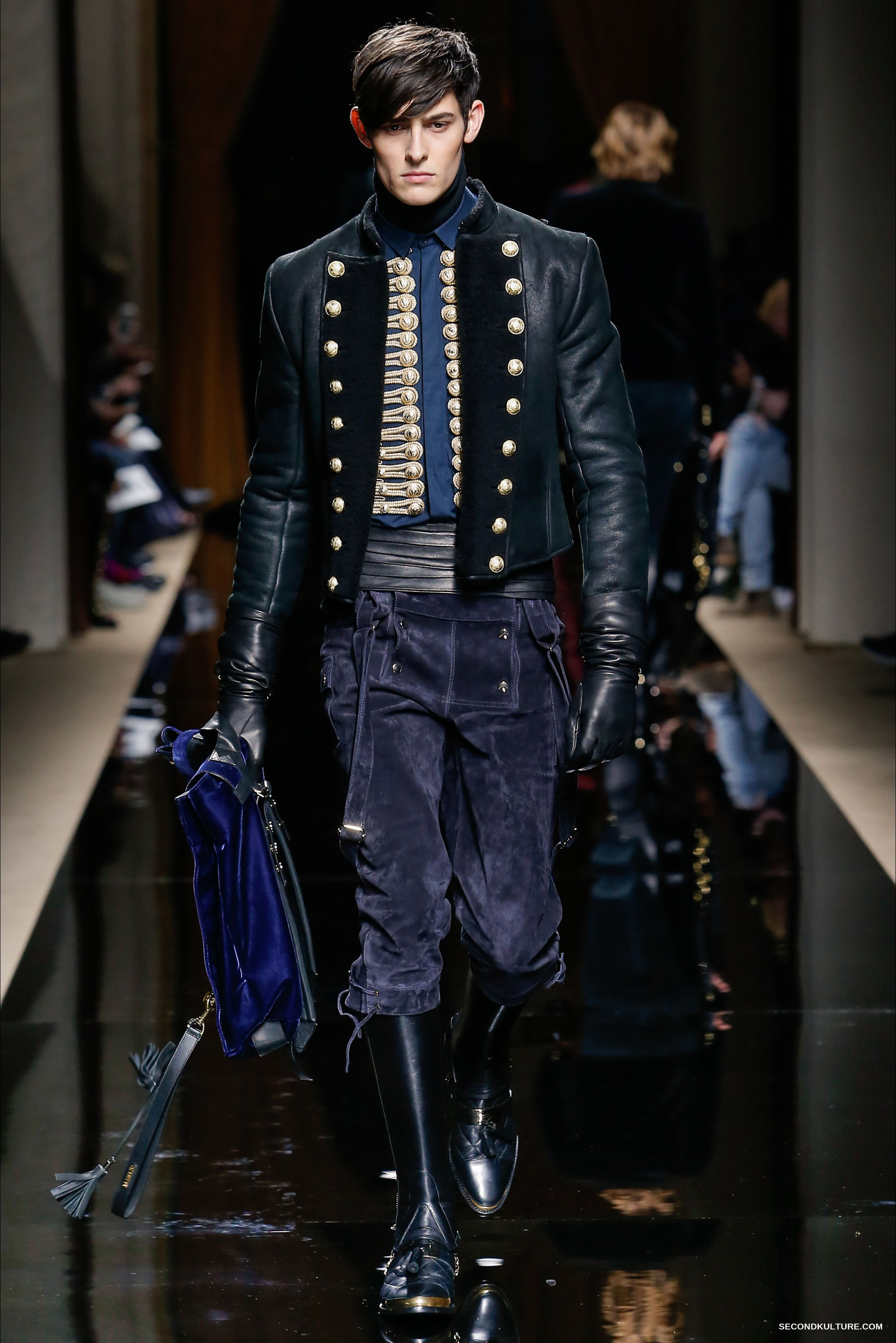 Edgy and military-inspired, French fashion house Balmain has gained a cult following since Olivier Rousteing took over as Creative Director. From classic biker jackets and distressed denim to studded T-shirts and sweatshirts, the brand's men's clothing line is infused with directional glamour.