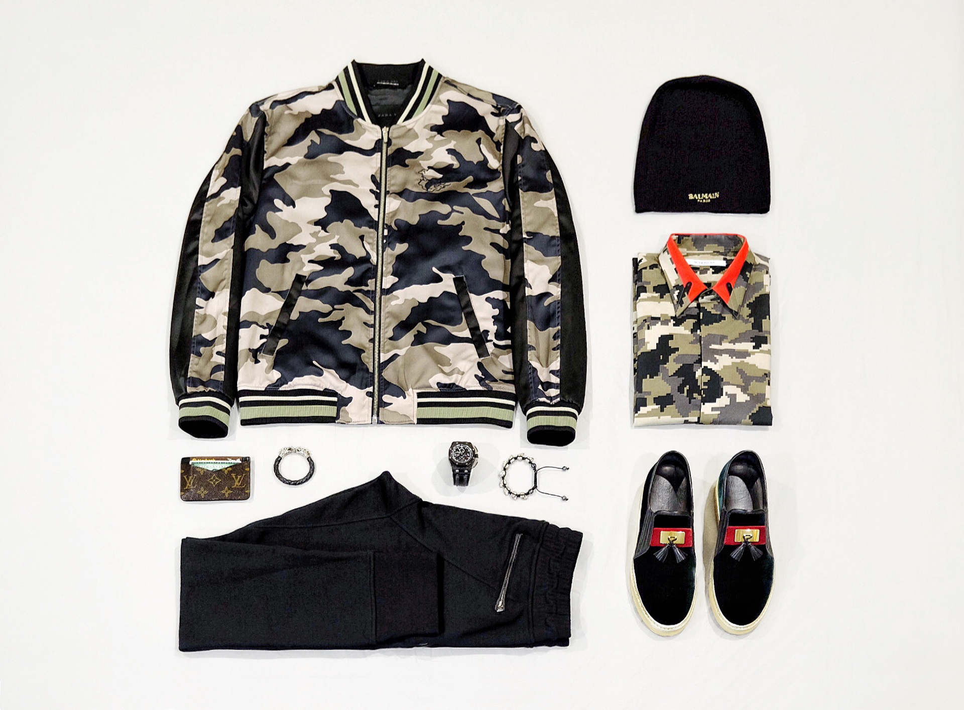 Givenchy Red Contrast Metal Insert Collar Green Camouflage Shirt and Balmain Green Velvet Gold Slip-on Sneakers