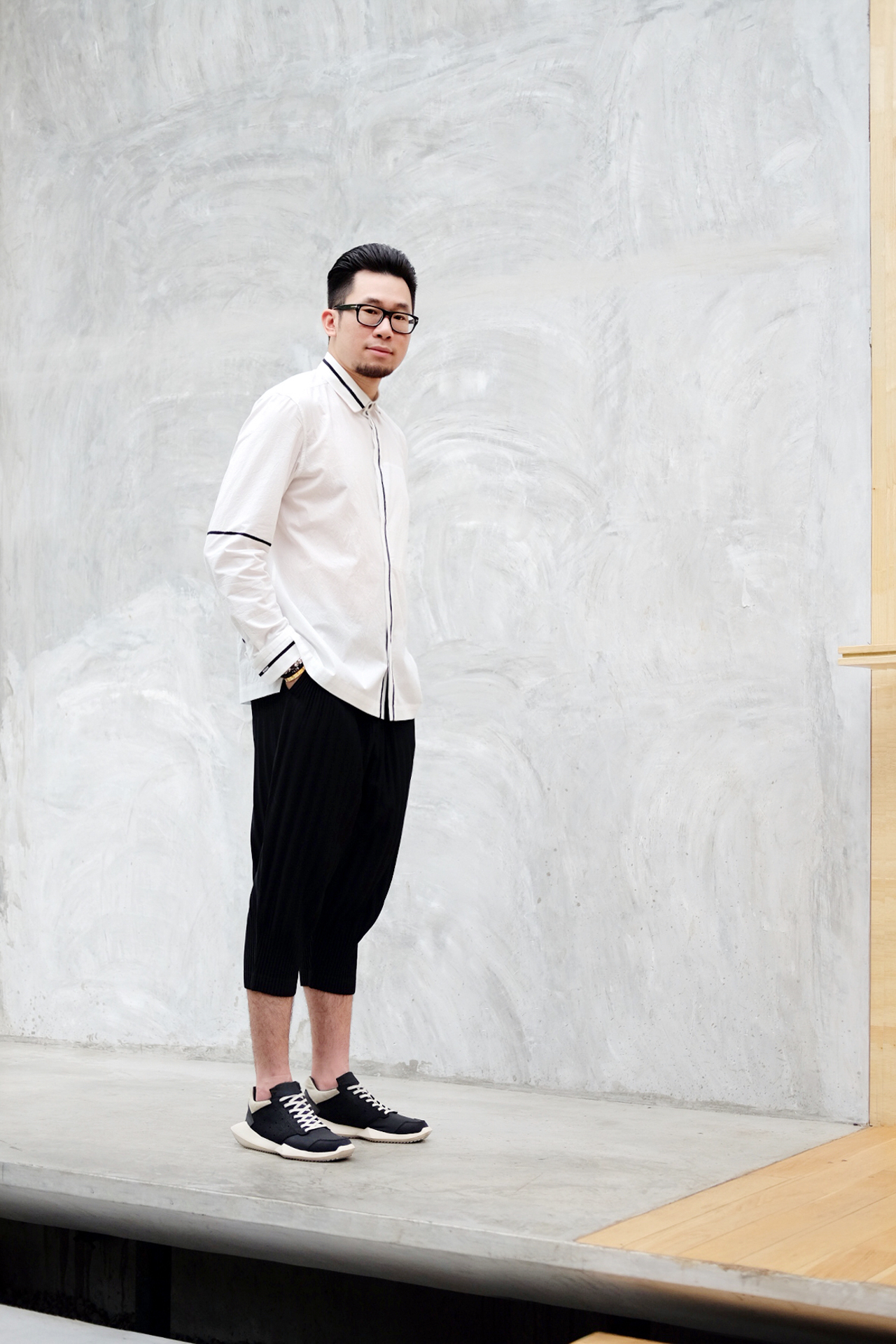 Issey Miyake Men White Contrast Stripe Shirt and Homme Plisse Pleated Shorts and Rick Owens Adidas Tech Runner Sneakers