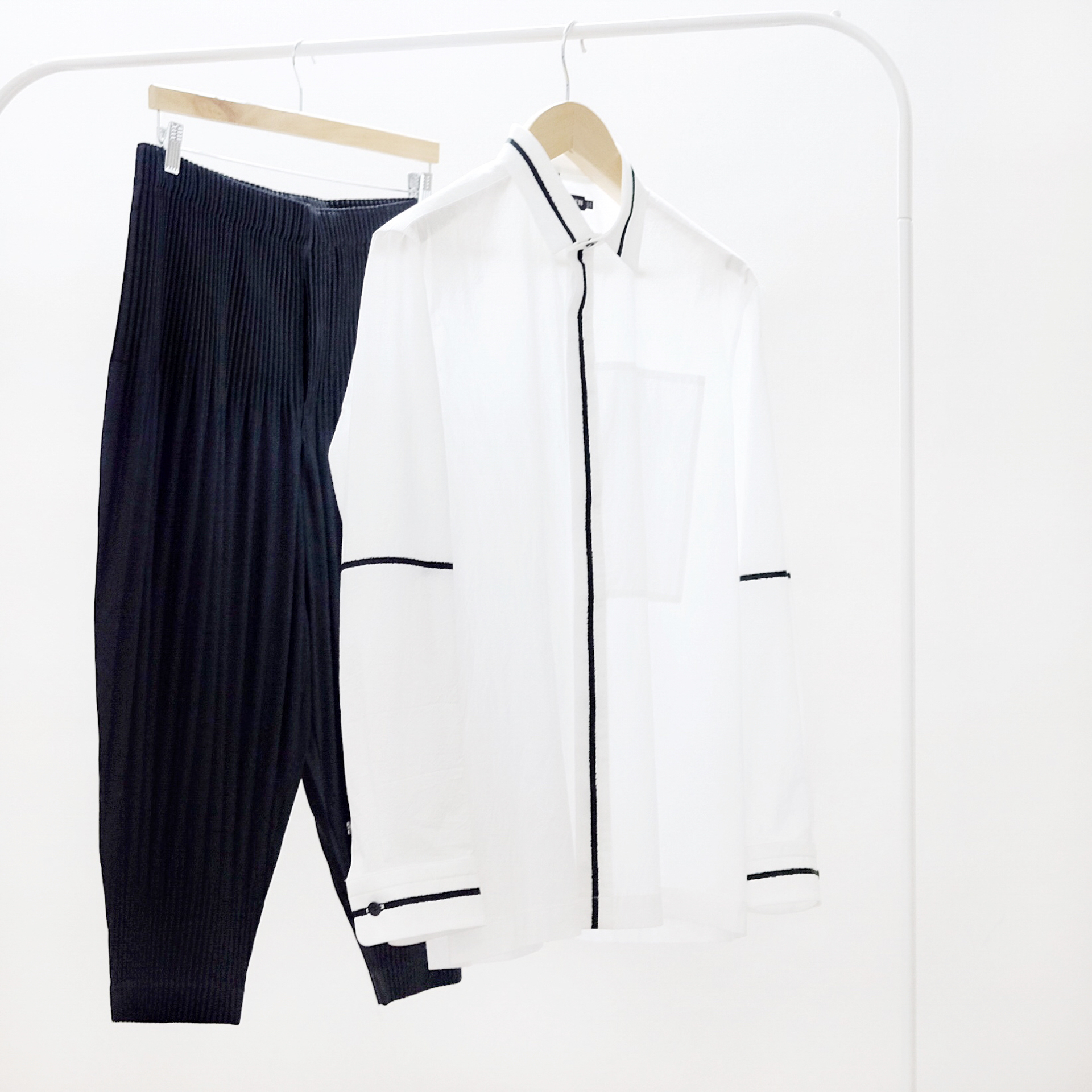 Issey Miyake Men White Contrast Stripe Shirt and Homme Plisse Pleated Shorts