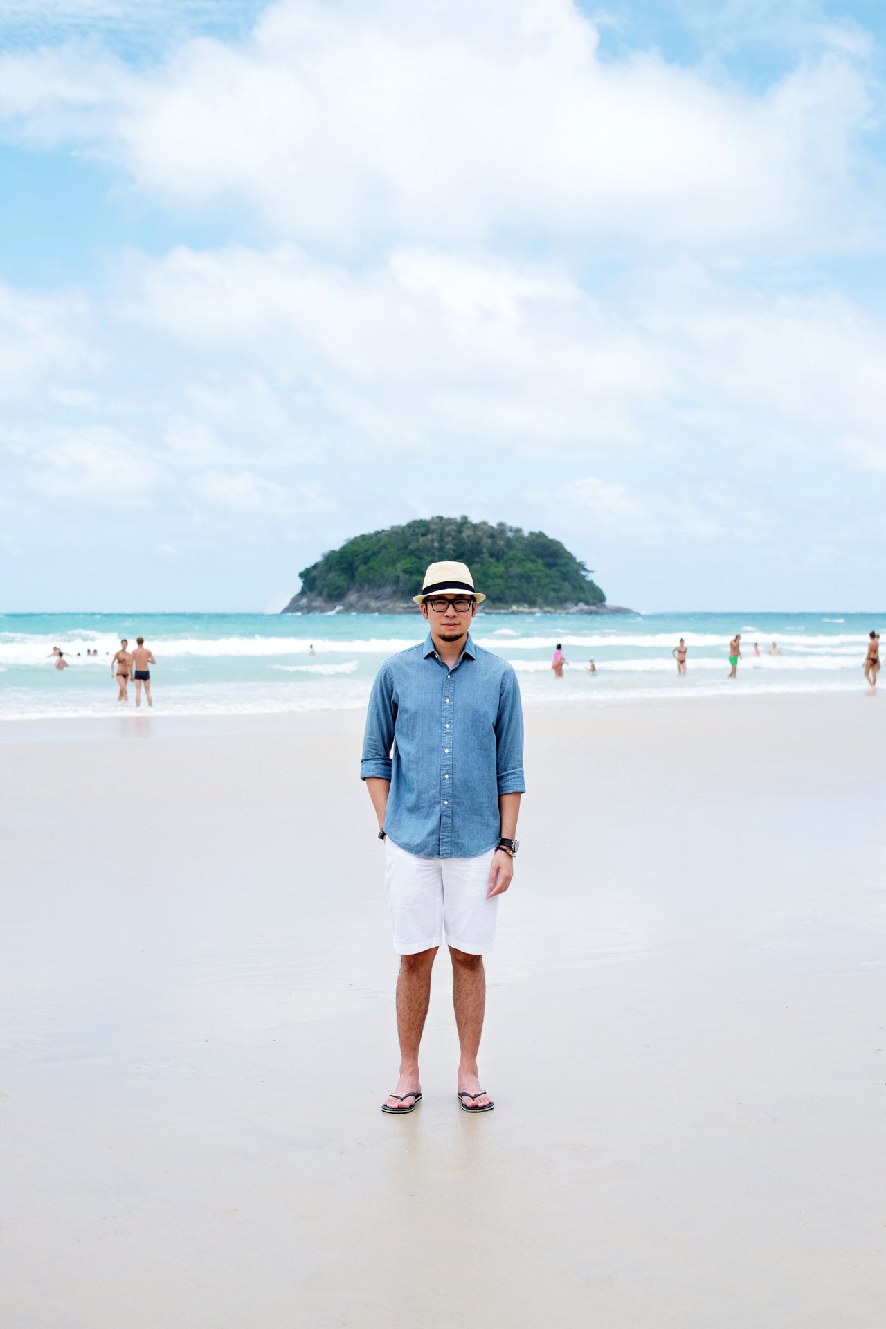 Ralph Lauren Blue Denim  Shirt and White Brooks Brothers Shorts Kata Beach Phuket