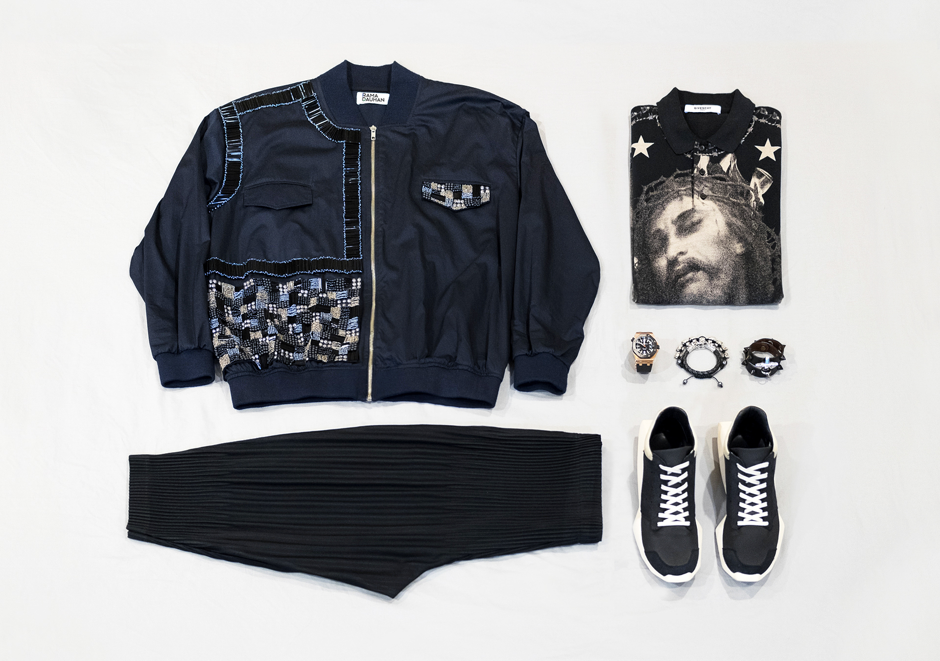 Rama Dauhan Sensatia Sequin Embellished Bomber Jacket and Givenchy Jesus Polo Shirt and Homme Plisse Pleated Shorts