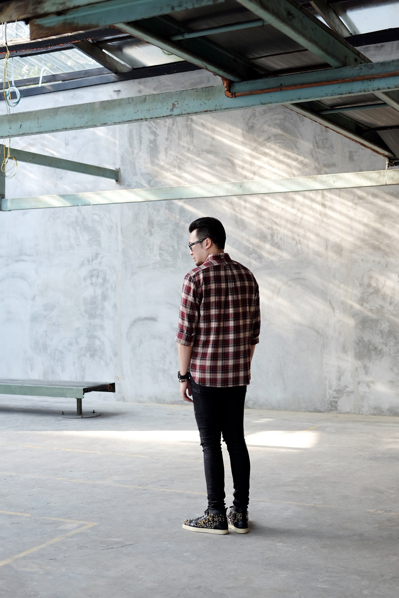 Saint Laurent Red Tartan Western Shirt and Christian Louboutin Pik Pik Sneakers