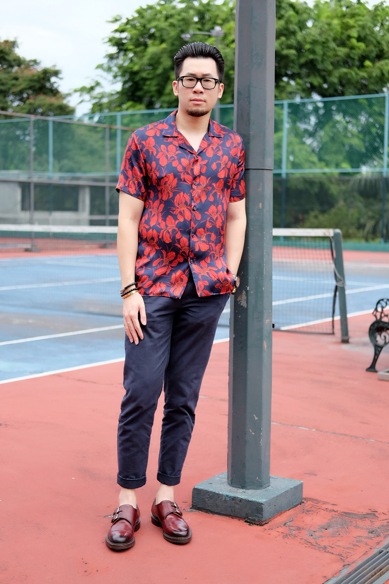 ZARA Floral Hibiscus Camp Collar Shirt and Gucci Burgundy Double Monk Leather Shoes
