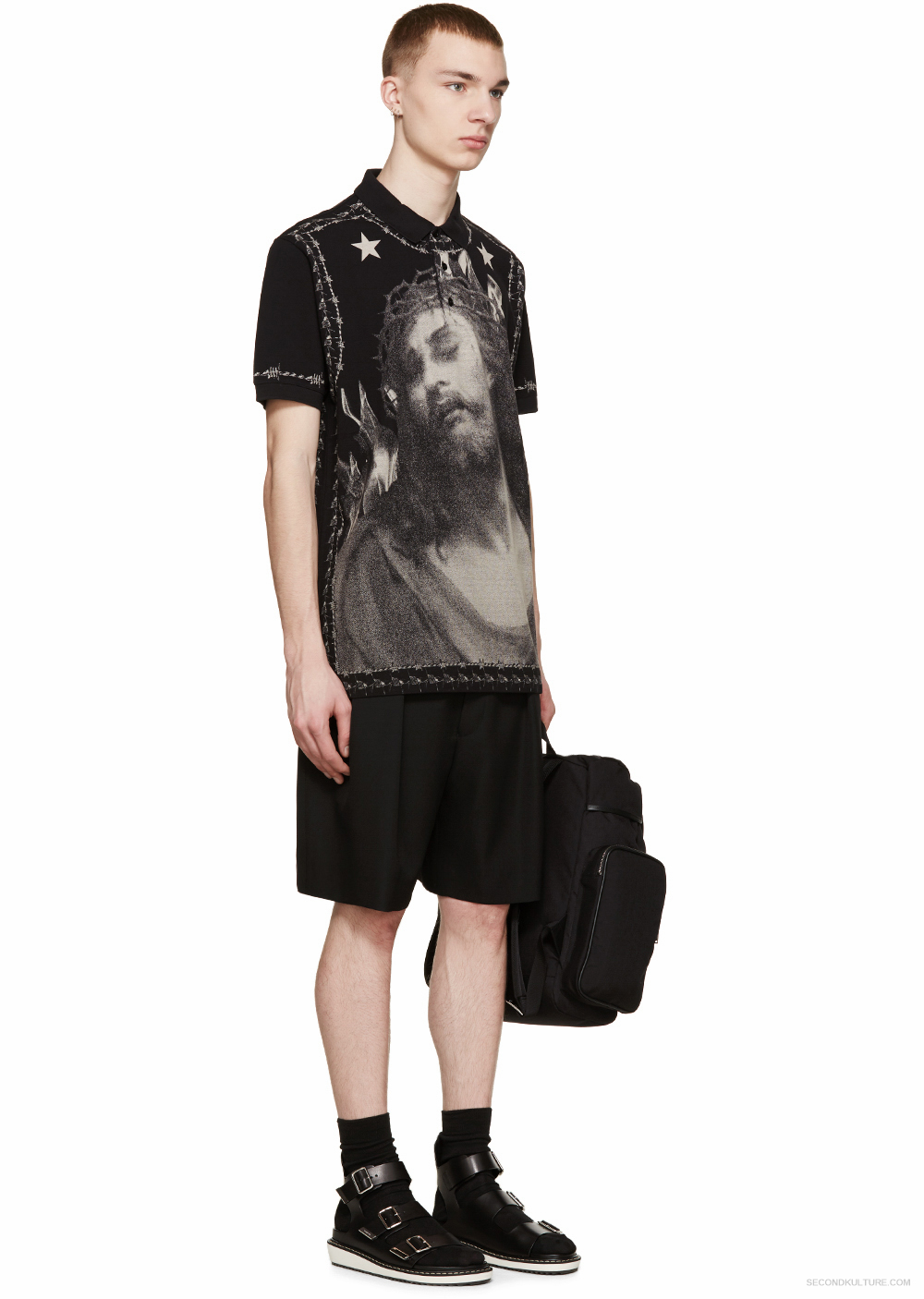 Givenchy Black Piqué Jesus Barb Wire Polo Print Columbian-Fit Shirt